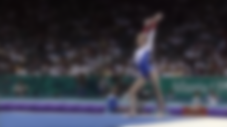 Team France performs on the floor exercise during the women's team optionals at Atlanta 1996