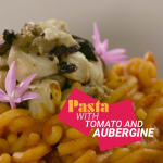 Pasta with tomato and aubergine