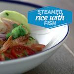 Gedämpfter Reis und Fisch