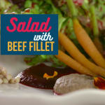 Salad with beef fillet
