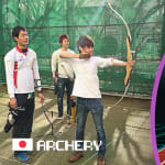 Aki & Masuo test their archery skills at Tokyo national training center
