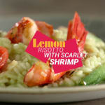 Lemon risotto with stir fried vegetables and scarlet shrimp