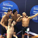 Italy win the 4x100m freestyle relay 34pts