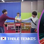 Os gamers DDotty & Suhyen mostram suas habilidades de tênis de mesa