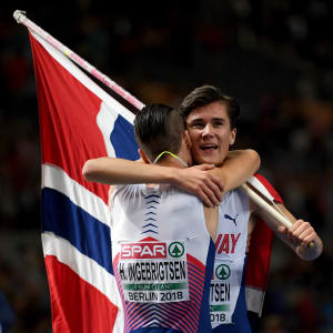 Jakob Ingebrigtsen of Norway celebrates winning gold with brother Henrik after the Men's 1500m Final during day four of the 24th European Athletics Championships. (Photo by Matthias Hangst/Getty Images)