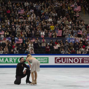 Madison Hubbell and Zachary Donohue react on ice after their free dance