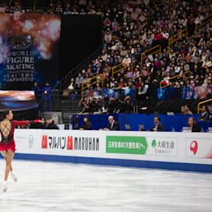 Evgenia Medevedeva skating during the short program
