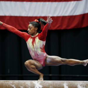 COLUMBUS, OH - JULY 28: Simone Biles competes during the 2018 U.S. Classic gymnastics seniors event at Jerome Schottenstein Center on July 28, 2018 in Columbus, Ohio. (Photo by Joe Robbins/Getty Images)