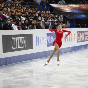 Elizabet Tursynbaeva performs during her free skate at the World Championships