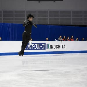 Yuzuru Hanyu jumps during practice for the free skate