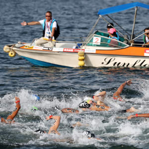 Athletes compete in the Women's 5km Final at the Gwangju 2019 FINA World Championships at Yeosu EXPO Ocean Park on July 17, 2019 in Yeosu, South Korea. (Photo by Chung Sung-Jun/Getty Images)