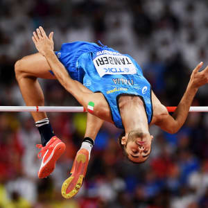 Gianmarco Tamberi and his half beard, competes in the Men's High Jump final during day eight of 17th IAAF World Athletics Championships Doha 2019 at Khalifa International Stadium on October 04, 2019 in Doha, Qatar. (Photo by Matthias Hangst/Getty Images)
