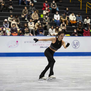 Evgenia Medvedeva skates on ice in practice before the Worlds.