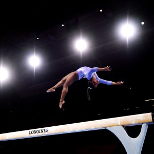 Simone Biles during the balance beam final at the 2019 World Artistic Gymnastics Championships