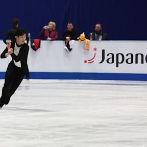 Nathan Chen in final practice before the men's short program.