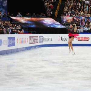 Alina Zagitova jumps during her gold medal free skate at the World Championships