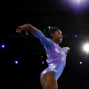 Simone Biles smiles during the floor final at the 2019 World Artistic Gymnastics Championships