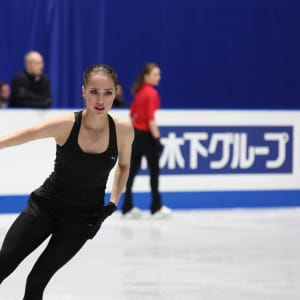 Alina Zagitova on ice during her first practice skate in Saitama.
