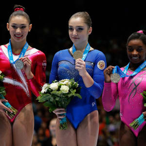 Simone Biles wins beam silver at the 2013 World Championships. Russia's Aliya Mustafina was the champion, while Kyla Ross (USA) took silver.
