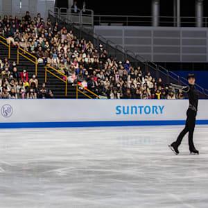 Yuzuru Hanyu in final practice before the men's short program.