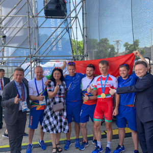 Vasil Kiryienka gets the party started in Minsk at the 2019 European Games. Photo: Olympic Channel