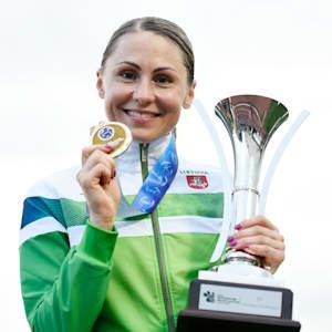 Laura Asadauskaite after her third UIPM Pentathlon World Cup Final triumph