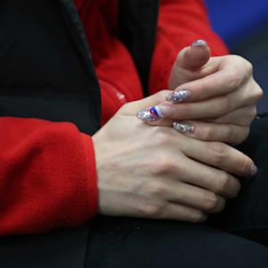 Zagitova's Russian-themed nails