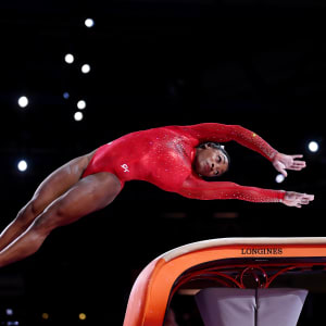 Simone Biles about to hit the vault during the apparatus final at the 2019 World Artistic Gymnastics Championships