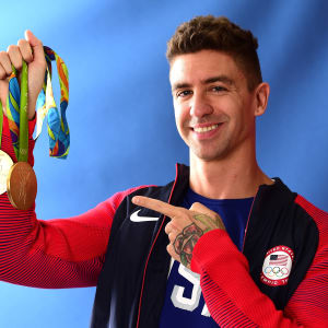 Anthony Ervin with his Olympic gold medals