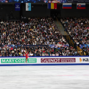 Elizabet Tursynbaeva jumps during her free skate at the World Championships