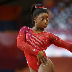 Simone Biles poses on floor exercise during the team final at the 2018 Worlds