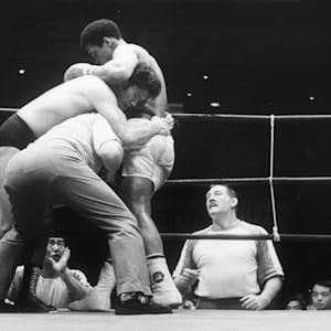 26th June 1976: Heavyweight boxer Muhammad Ali fighting the champion Japanese wrestler Antonio Inoki at Budokan Hall in Tokyo.