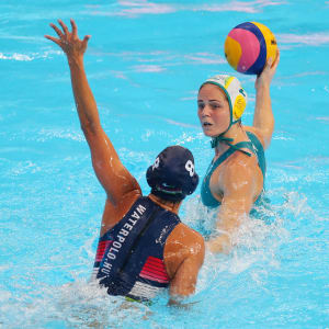 Keesja Gofers #2 of Australia looks for a pass against Rita Keszthelyi #8 of Hungary during the Women's Water Polo Bronze Medal match on day 14 of the Gwangju 2019 FINA World Championships at Nambu University on July 26, 2019 in Gwangju, South Korea. (Photo by Maddie Meyer/Getty Images)