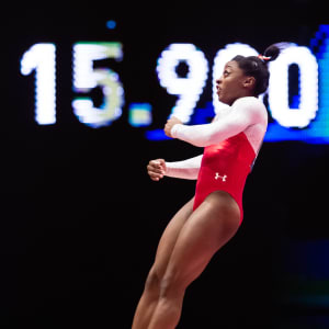 Simone Biles during her second vault in the apparatus final at the 2015 Worlds