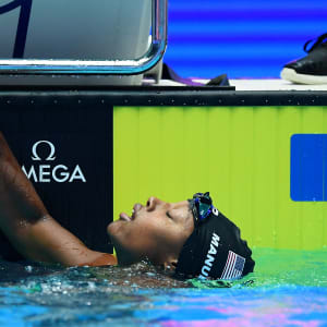 Simone Manuel of the United States reacts after the Women's 100m Freestyle Final on day six of the Gwangju 2019 FINA World Championships at Nambu International Aquatics Centre on July 26, 2019 in Gwangju, South Korea. (Photo by Quinn Rooney/Getty Images)