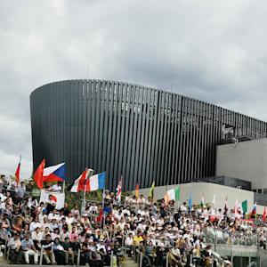 Spectators watching the Fencing bonus round inside the Musashino Forest Sports Plaza