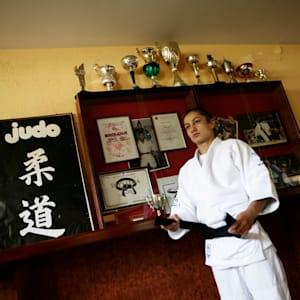 Majlinda Kelmendi prepares for training in her hometown Peja