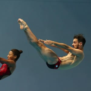 Francois Imbeau-Dulac and Jennifer Abel of Canada compete in the Mixed 3m Synchro Springboard Final during day nine of the Gwangju 2019 FINA World Championships at Nambu International Aquatics Centre on July 20, 2019 in Gwangju, South Korea. (Photo by Maddie Meyer/Getty Images)