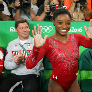 RIO DE JANEIRO, BRAZIL - AUGUST 14: Simone Biles of the United States celebrates winning the gold medal in the Women's Vault Final on Day 9 of the Rio 2016 Olympic Games at the Rio Olympic Arena on August 14, 2016 in Rio de Janeiro, Brazil. (Photo by Alex Livesey/Getty Images)