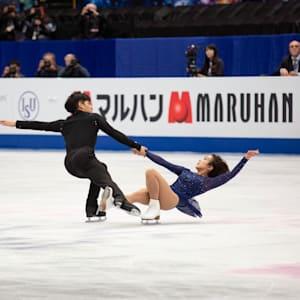 Sui Wenjing and Han Cong during the pairs free skate at the 2019 World Championships in Saitama