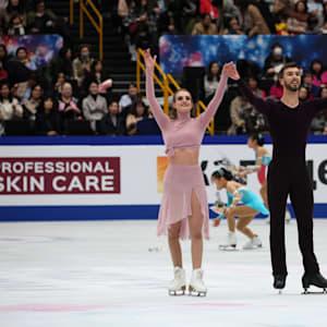 Gabriella Papadakis and Guillaume Cizeron acknowledge the crowd after their free dance in Saitama