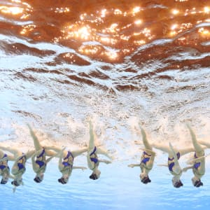 Team Russia competes in the Free Combination preliminary round day seven of the Gwangju 2019 FINA World Championships at Yeomju Gymnasium on July 18, 2019 in Gwangju, South Korea. (Photo by Quinn Rooney/Getty Images)