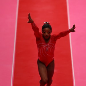 Simone Biles on vault during the team final at the 2015 Worlds