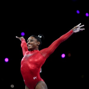 Simone Biles during the vault at the 2019 World Artistic Gymnastics Championships
