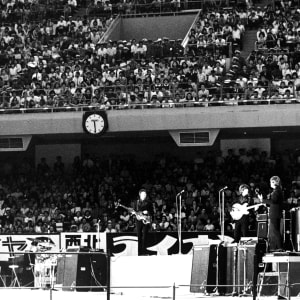 The first concert of the Beatles' Japanese tour, at the Nippon Budokan Hall in Tokyo, 30th June 1966.
