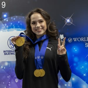 Alina Zagitova shows off her medals
