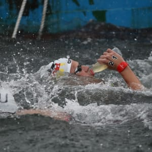 Soeren Meissner of Germany takes a drink during the Men's 25km Final at the Gwangju 2019 FINA World Championships at Yeosu EXPO Ocean Park on July 19, 2019 in Yeosu, South Korea. (Photo by Chung Sung-Jun/Getty Images)