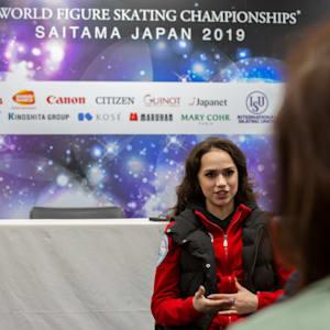 Alina Zagitova speaks to the media