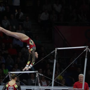 Defending event champion Nina Derwael performing on uneven bars at the 2019 World Championships (Photo: Olympic Channel)