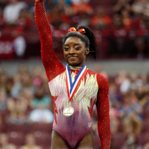 COLUMBUS, OH - JULY 28: Simone Biles waves to fans after winning the 2018 U.S. Classic gymnastics seniors event at Jerome Schottenstein Center on July 28, 2018 in Columbus, Ohio. (Photo by Joe Robbins/Getty Images)